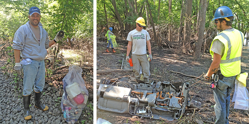 At left, Tony Ambrose, who has volunteered at the cleanup for five years as a U.S. Bank employee, picked up trash. At right, David Steffen (yellow helmet) and Jace Crowe    hauled a truck dashboard out of a wooded area.