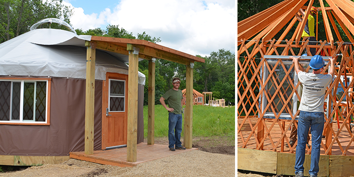 At left, Colin Kelly, DNR Parks and Trails Planner, stood in front of the first completed yurt at Afton State Park. At right, Single Placement Darin Newman (foreground) and Field Coordinator Zach Dieterman installed the second yurt at Afton.