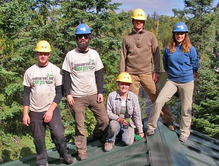 Corps members installed a new roof on a CCC-era cabin in the BWCA
