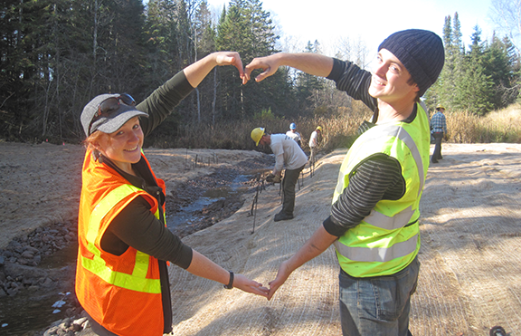 Neva Widner and Matias Valero helped remove a dam on this site as part of a stream restoration project.