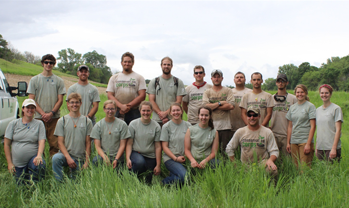 The Conservation Corps Loess Hills crew partnered with an IowaNatural Heritage FoundationStatewide Land Stewardship intern crew on a restoration project.
