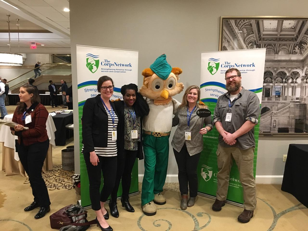 LEARNING BEGINS: staff are welcomed by Woodsy Owl, mascot for the United State Department of Agriculture Forest Service (pictured left to right: Hollis Emery, Garnetta Lowman, Melissa Cuff, and Brian Miller)