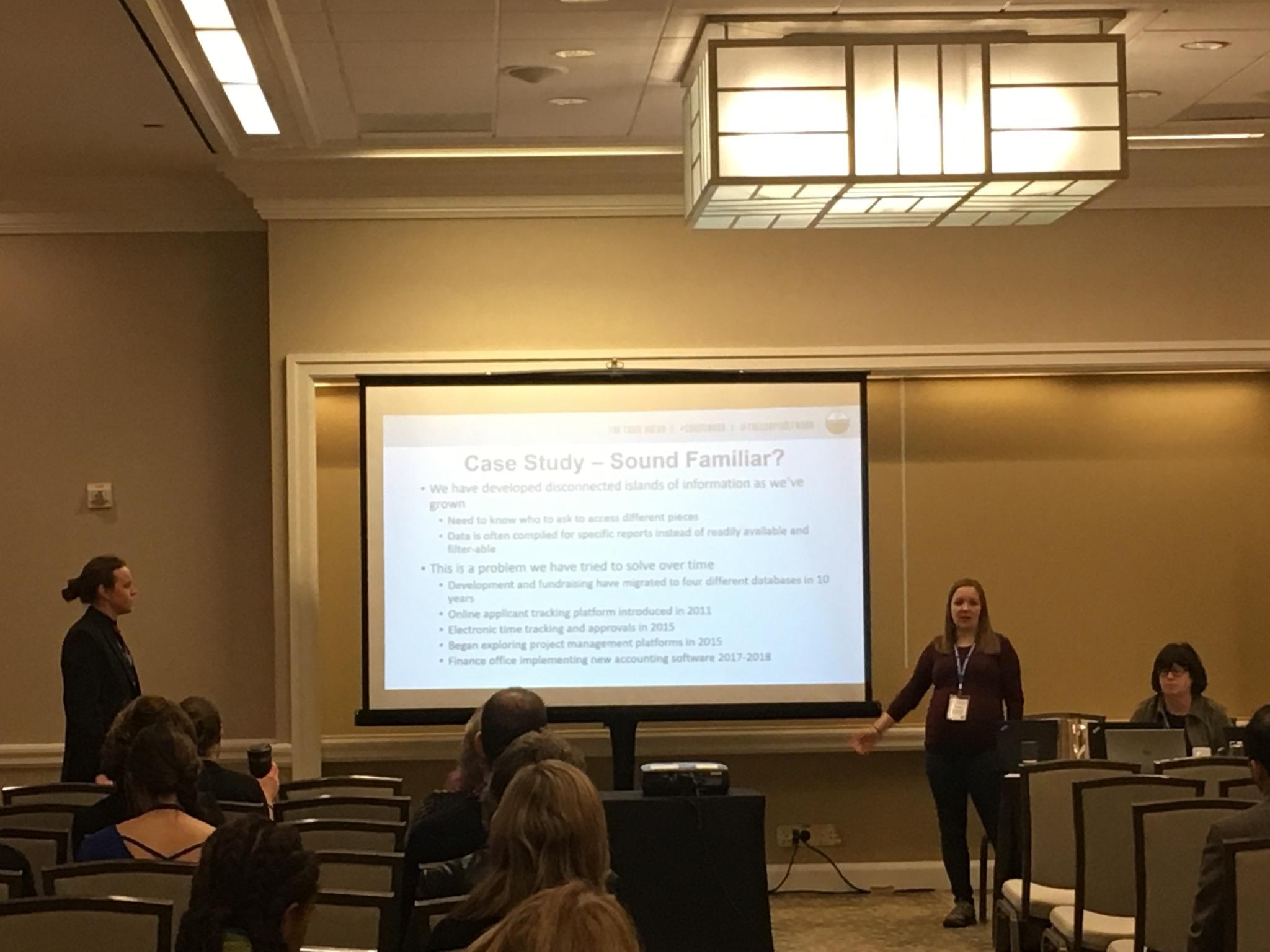 SHARING BEST PRACTICES: Nicole Zyvoloski, Data Systems Administrator, presented with three other tech professionals across the movement on the topic of  Improving Efficiency by Optimizing Data Accessibility and Management.