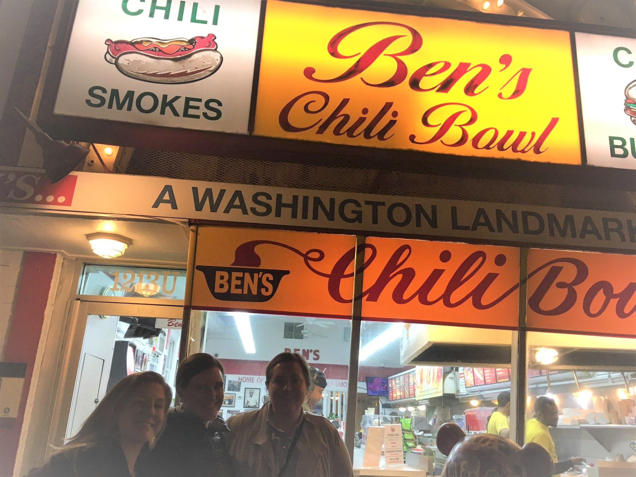 MOVING FORWARD: Dinner at Ben's Chili Bowl included an insightful presentation by Hari Jones on the role of African Americans in the Civil War (pictured left to right Melissa Cuff, Hollis Emery, and Carrie Danner).