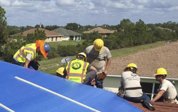 Tarping roofs in Florida after Hurricane Irma.