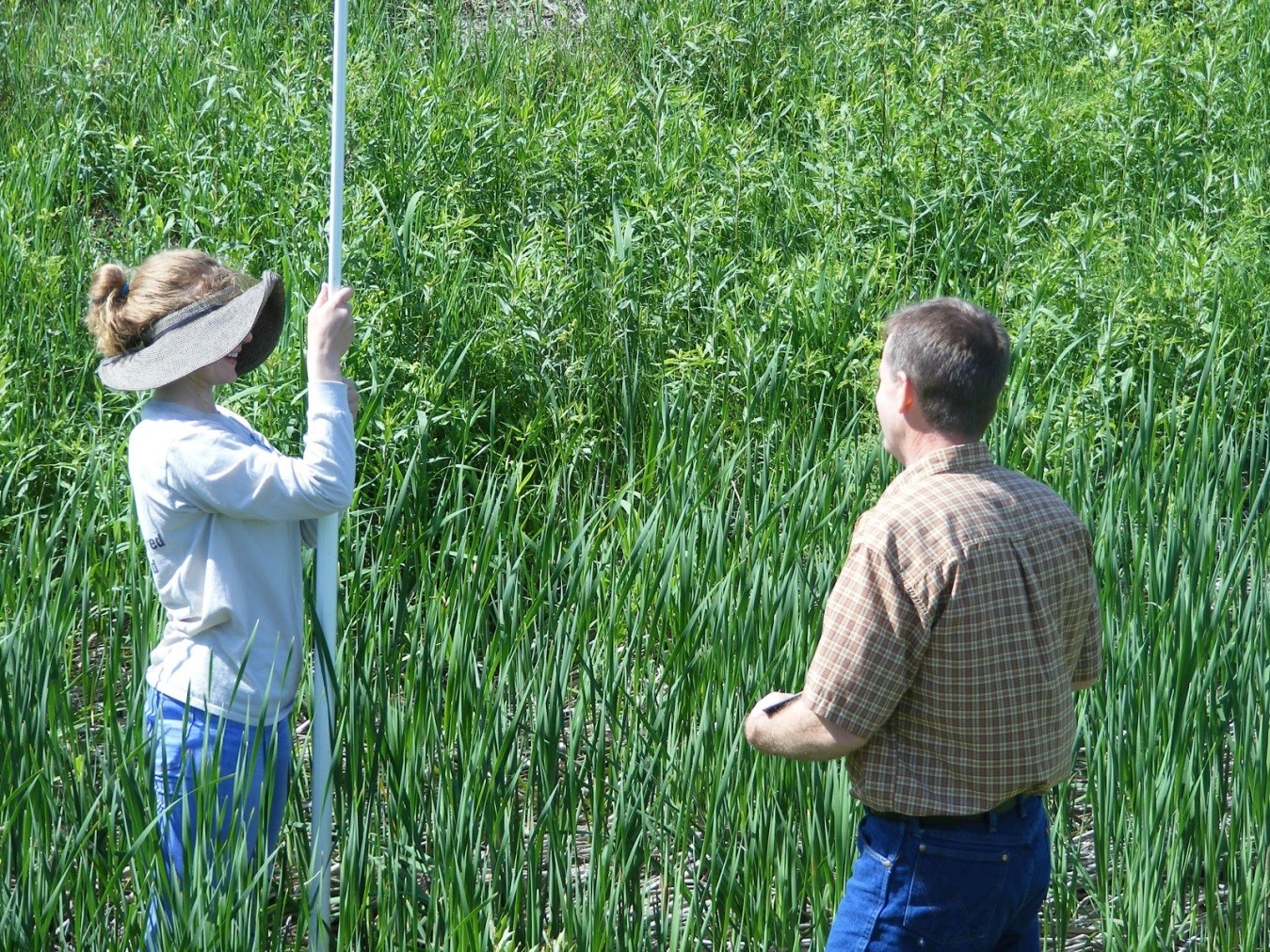 My supervisor Bryan Malone teaching me how to survey using a rod and laser.