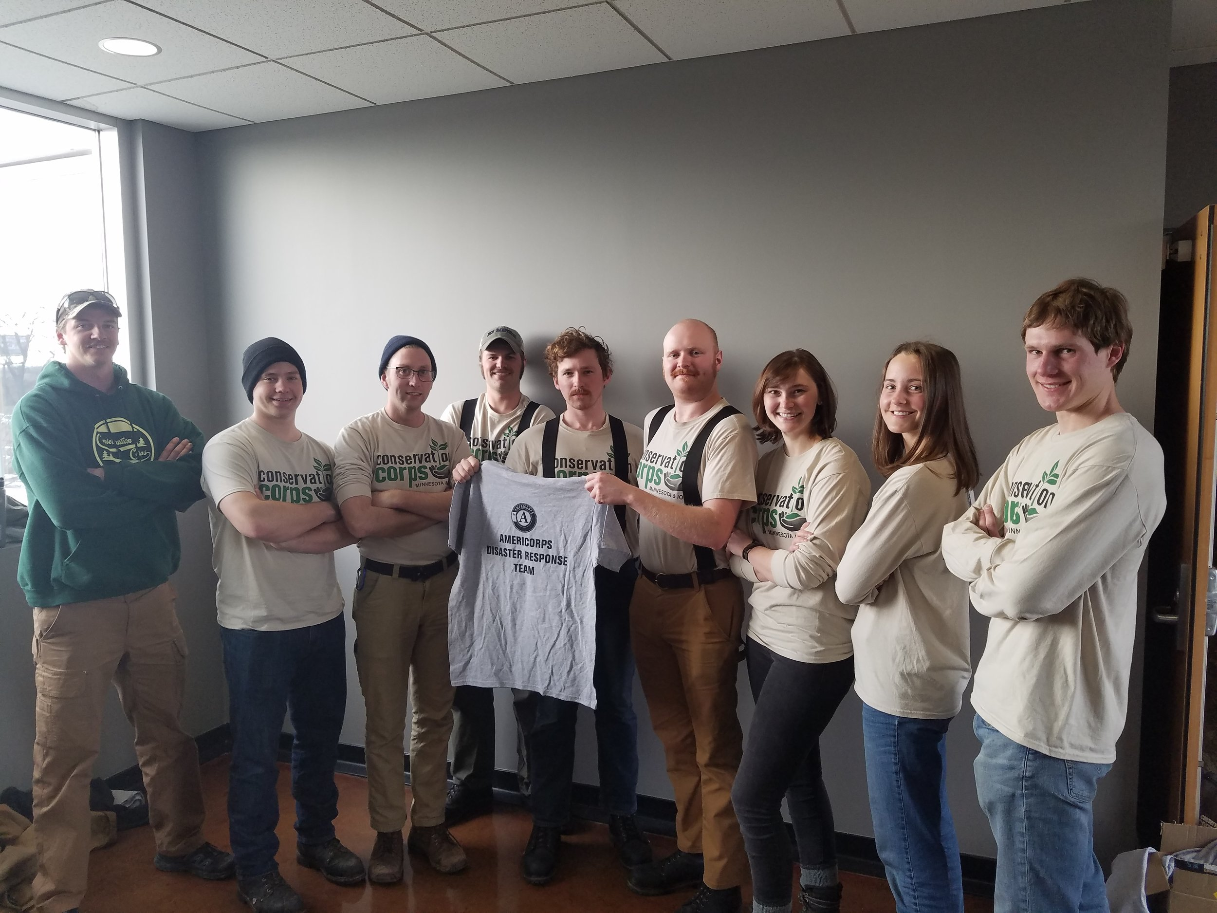 On Friday, April 12, 2019, Conservation Corps Minnesota & Iowa AmeriCorps members departed from Saint Paul, Minnesota to join additional members in Iowa for a 30-day flooding disaster recovery deployment.
