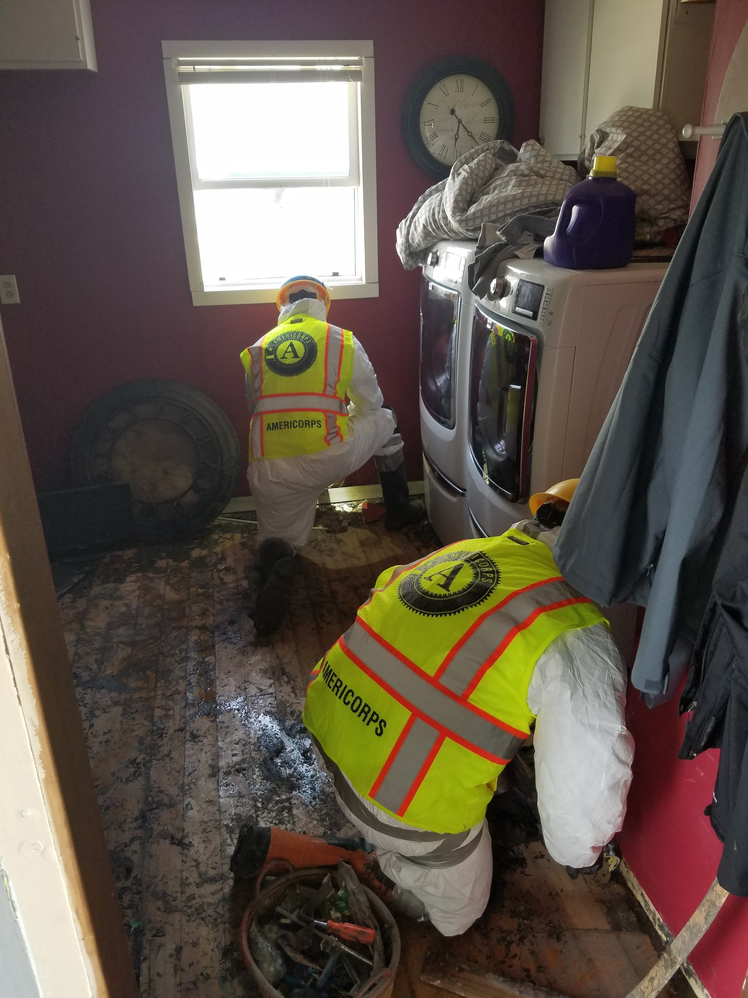 In April 2019, Conservation Corps Minnesota & Iowa AmeriCorps members mitigated flooding damage in homes by providing services such as mold suppression and mucking/gutting.