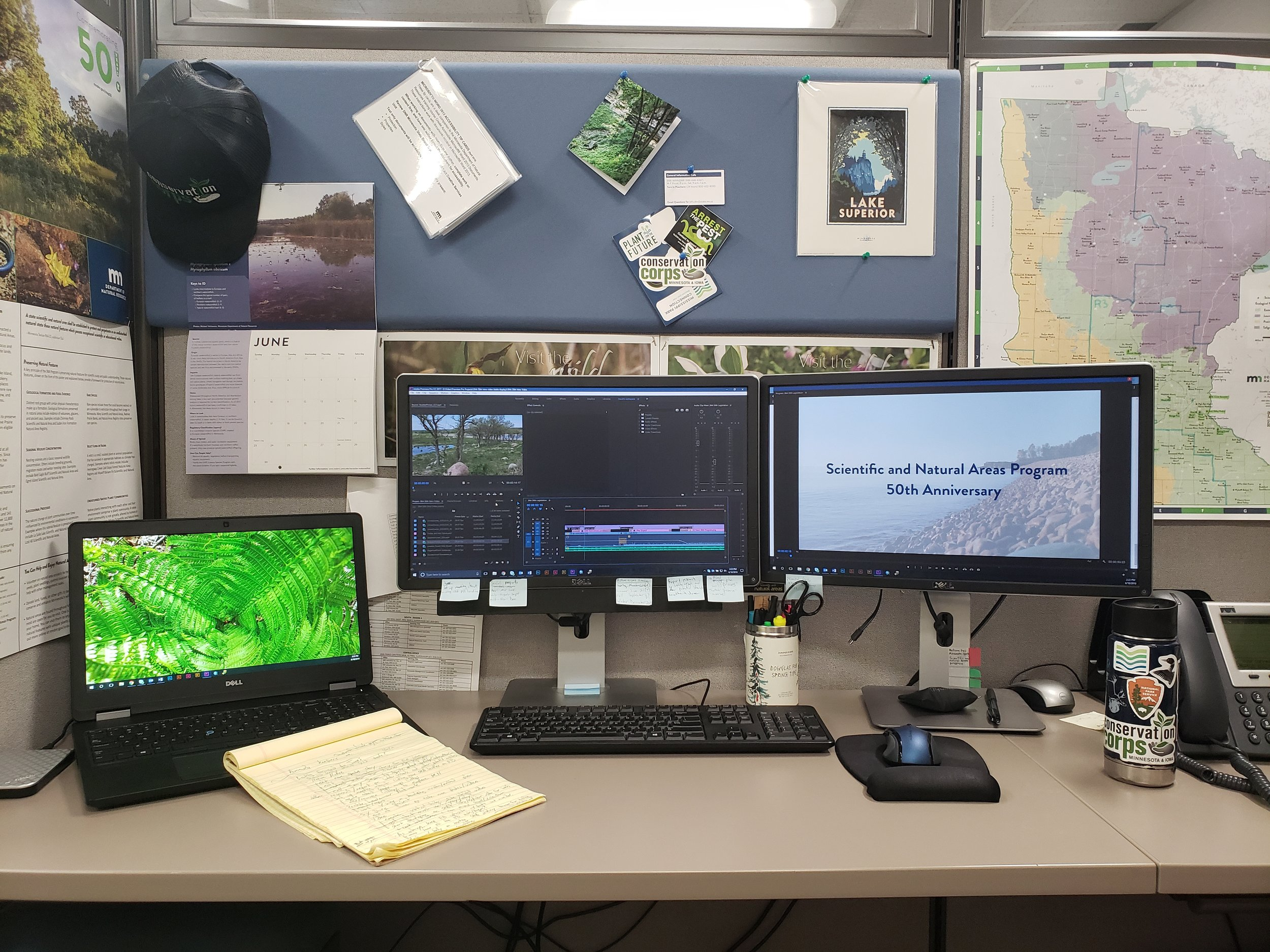 My desk while I'm working on a video about the Scientific and Natural Areas.