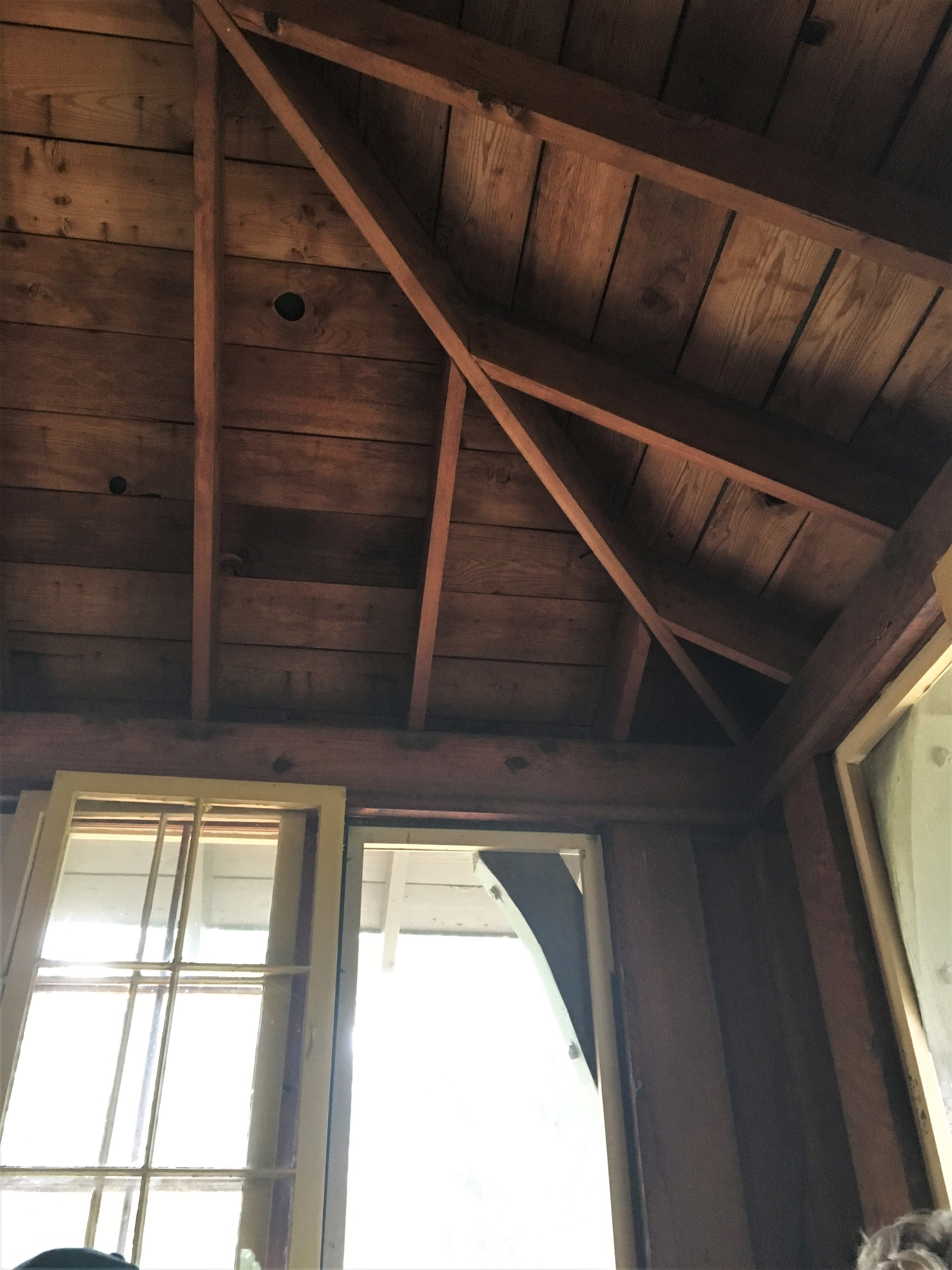Rafters in the dining hall at St. John's Landing
