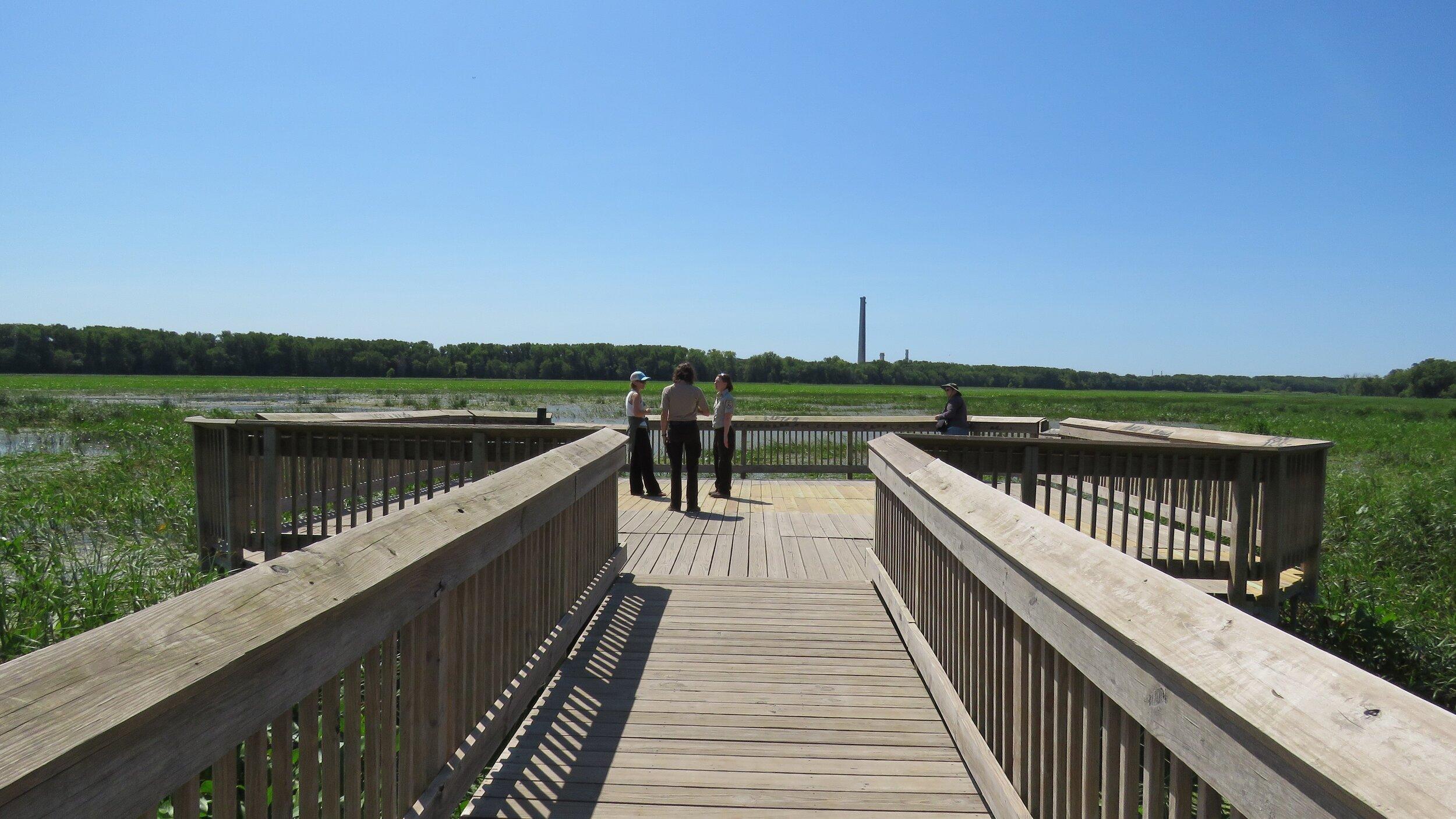 Refuge staff enjoy views of the Minnesota River valley. Gina Hatch/USFWS.