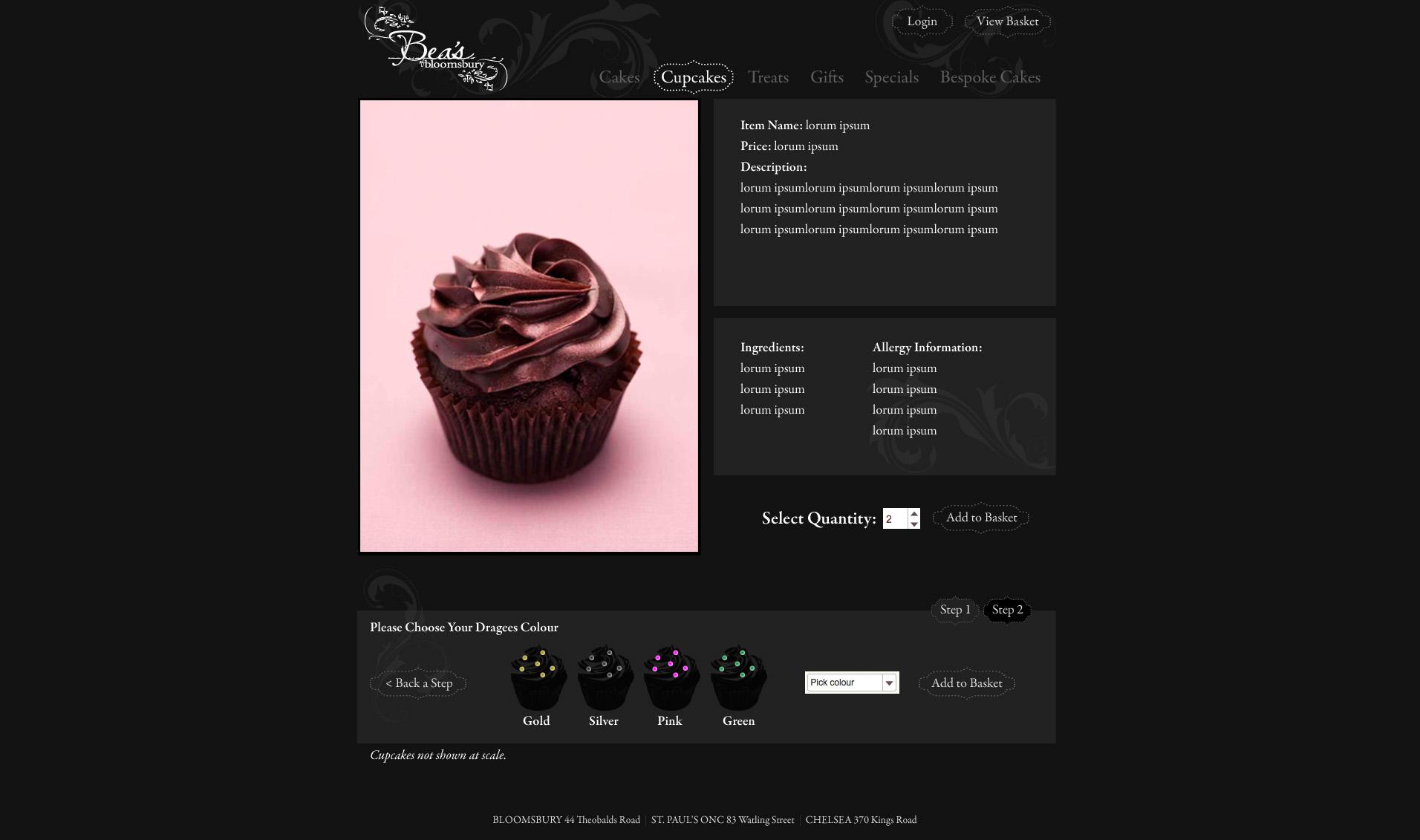 Bea's of Bloomsbury Website Ordering Step