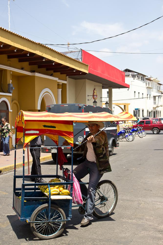 A mobile banana salesman pauses for the camera