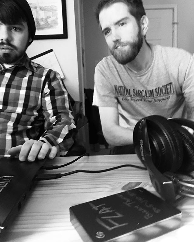 Taken by my 3yo (who also chose the B&W filter), a pic of me and @austin_crumbles working on a segment of FLAT. Very excited with where this film is going! #mythreeyearoldtakesbetterphotosthanyourthreeyearold