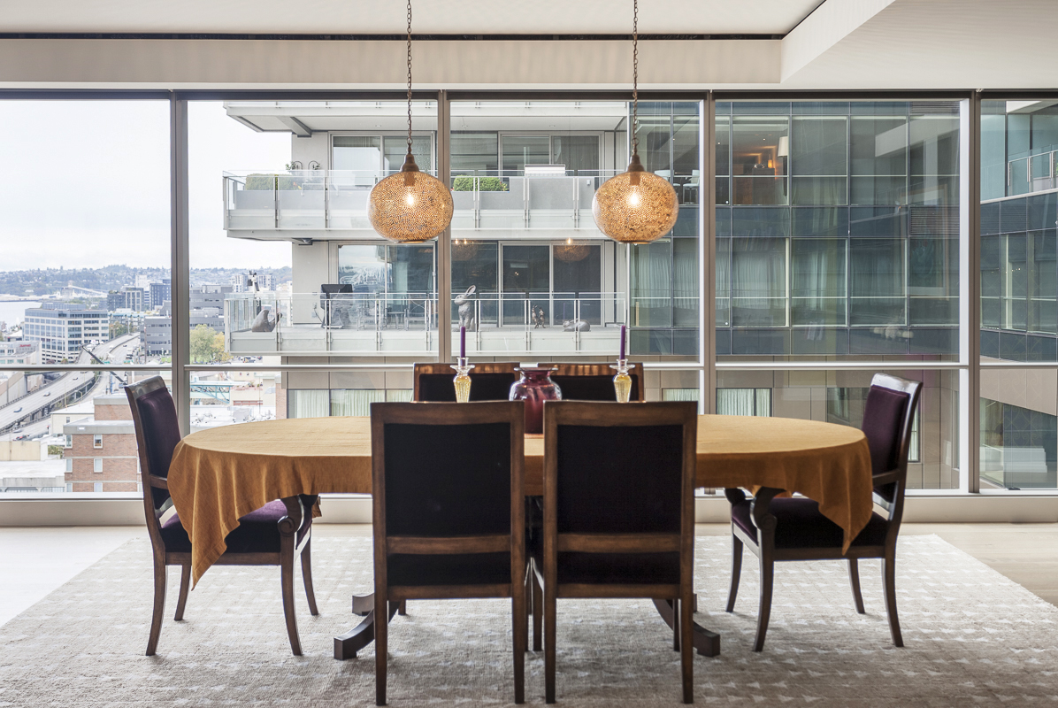 The dining room in the Four Seasons condo project, designed by Louise Durocher and build by Dovetail.