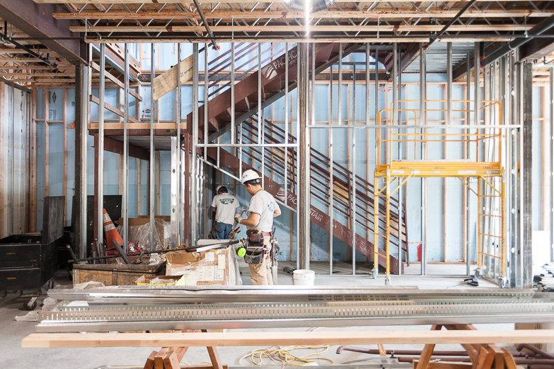 We're finishing up the metal framing on the ground floor, which will be a tap room.