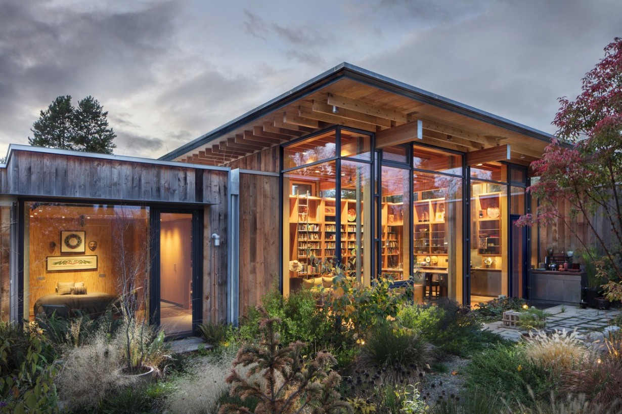 The 2,400-square-foot house is highly environmentally sustainable, meeting net-zero guidelines (but not official certification). The residence features photovoltaic panels, a green roof, triple-pane windows from Germany, exterior cladding of reclaimed Douglas fir, and interior walls made of fir plywood. Additionally, there is an air-to-water heat pump, extra-efficient insulation, low-energy appliances, and LED lighting.