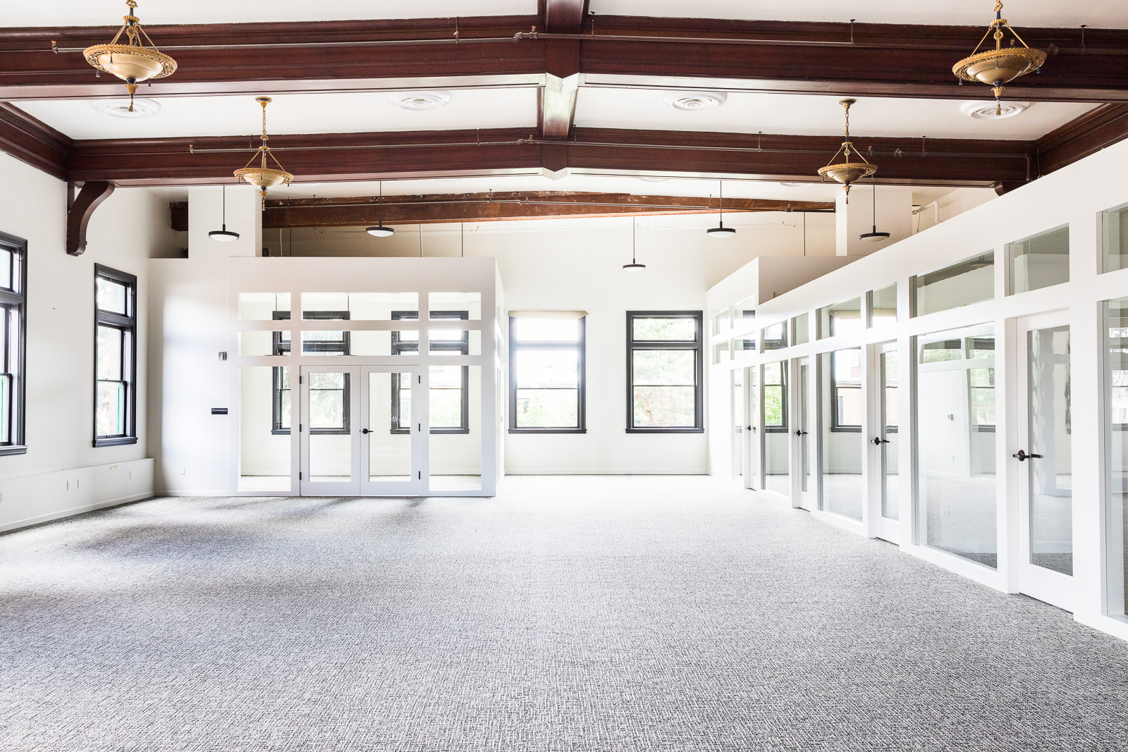 The third-floor Ballroom is now office space.
