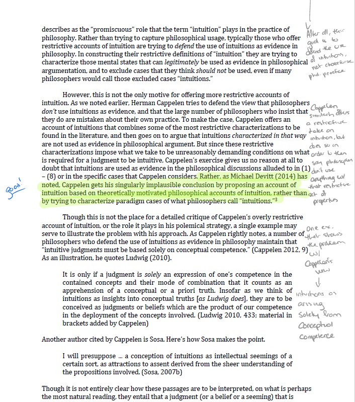 marginalia Method - To effectively take notes in the margins, I use one color for my own thoughts, and another for summaries of what the author says. I then use the highlighter for key claims, and passages I may wish to draw upon later.You can also use custom symbols that indicate things like questions, or objections, that you elaborate on in another piece of paper. You can find one good set of symbols, developed by Marc Busser at McMaster University, here.