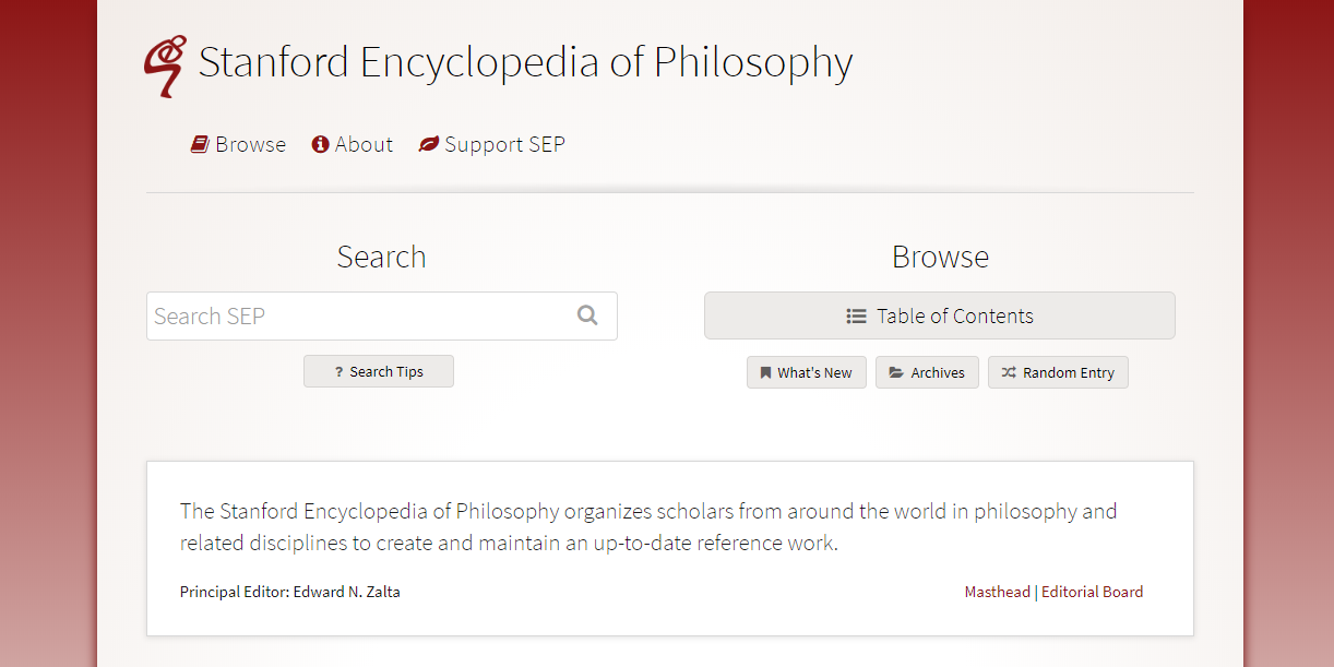 the stanford encyclopedia of philosophy - The Stanford Encyclopedia contains up-to-date, peer-reviewed, overviews of philosophical topics written by experts on those topics.