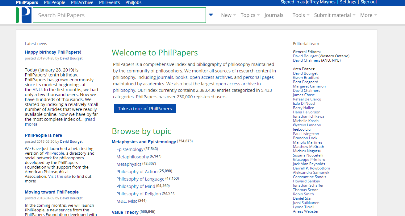 philpapers - PhilPapers is a philosophical database and repository with useful topic guides to find papers on your topic.