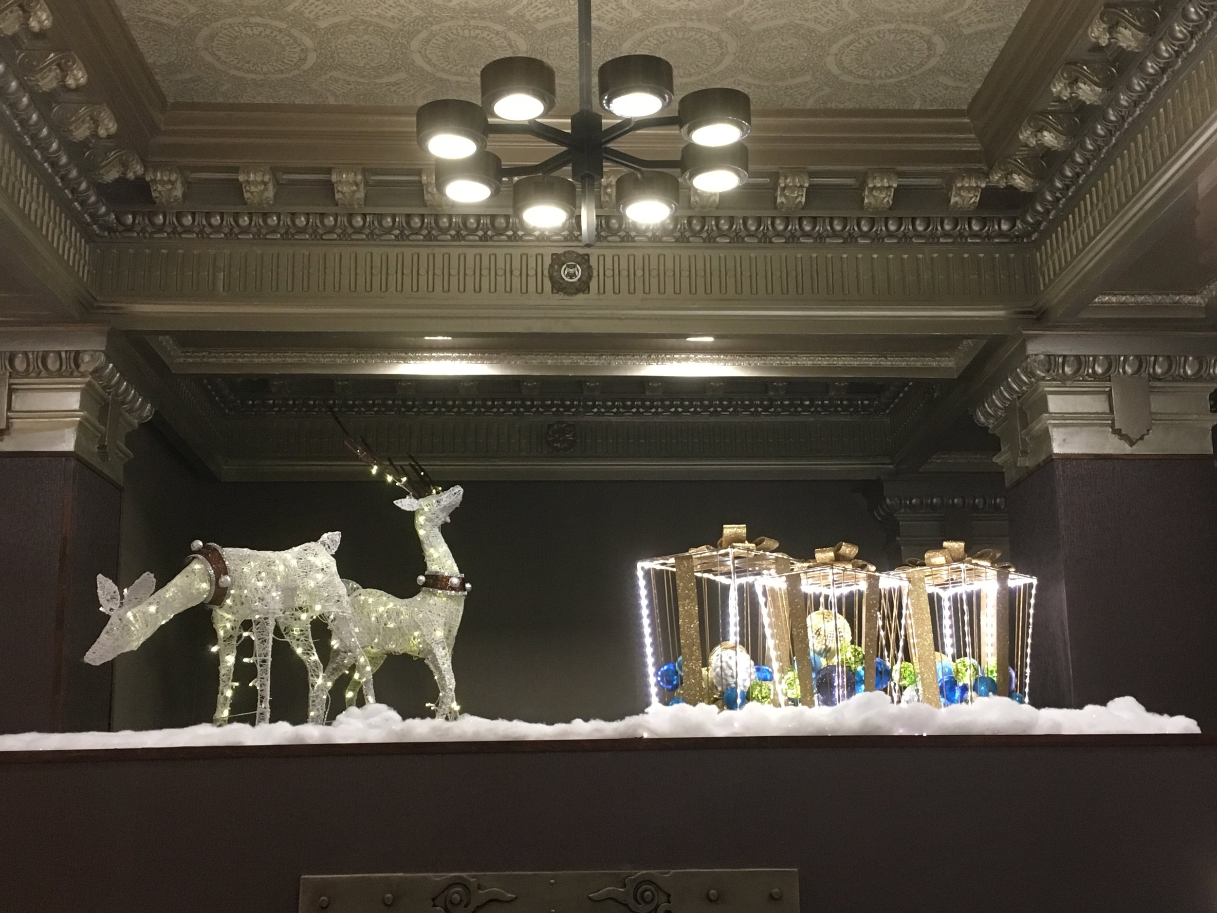 Above the Vault. Prelit LED figurines , ornaments, lights and faux snow.