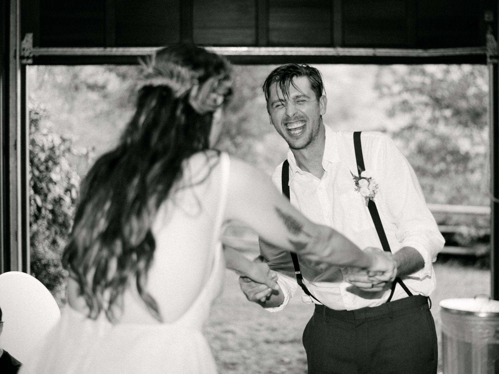 Couple dancing at wedding reception