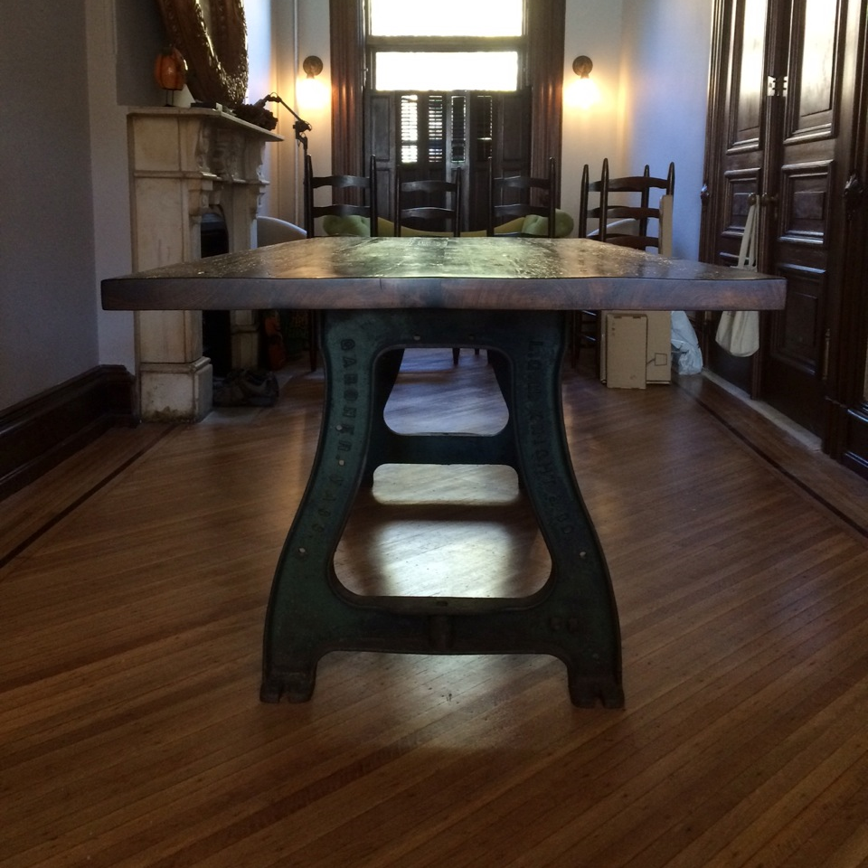 Beam Top Table / Cast Iron Legs