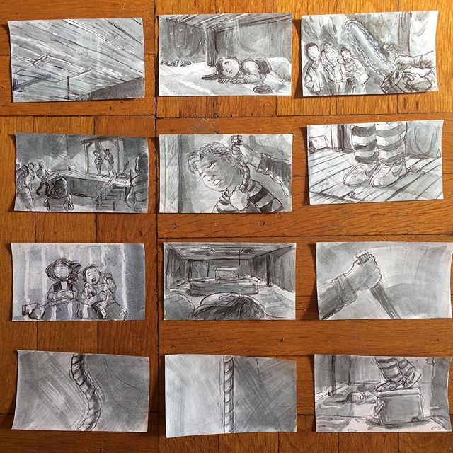 I have more #storyboard panels before it's finish but I wanted to show what I have. Ideas for a film. This is based on my #Halloween as a child. Lol. My dad volunteered at a local Jaycees #hauntedhouse. He couldn't get a babysitter for my brother and I one night, and it was a school night. We had to sleep under the stage with the sounds of chainsaws, haunted house sfx, screaming teens and my dad begging for his life. I was terrified he might accidentally really hang himself if I fell asleep.