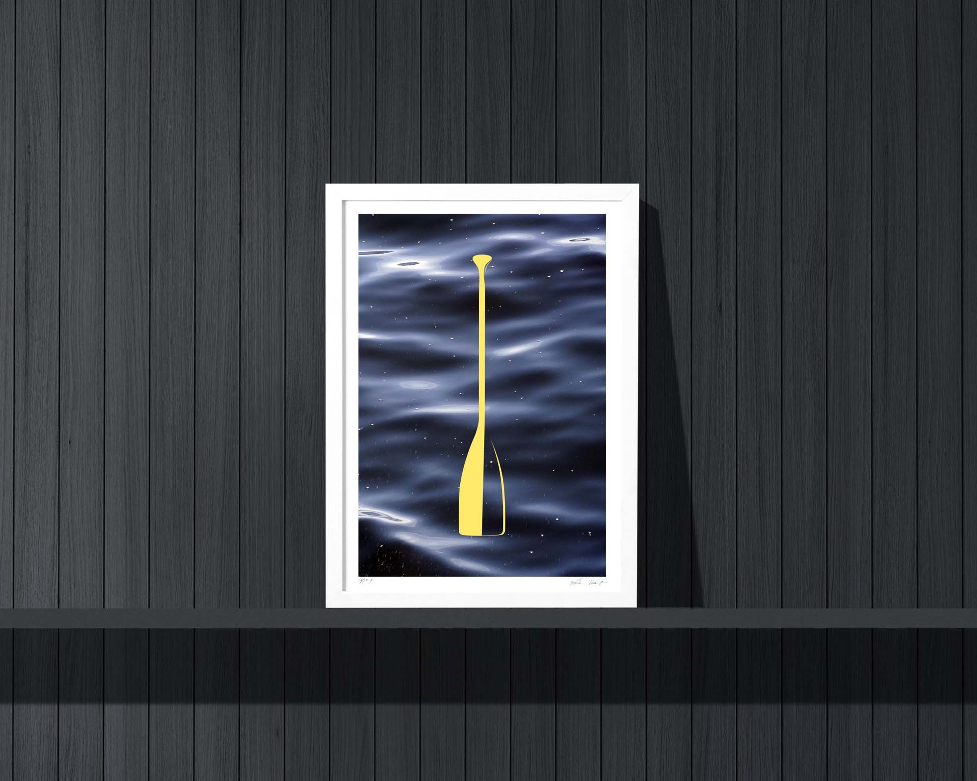 Cabin art and decor: A hand made paddle art print over a water photograph.