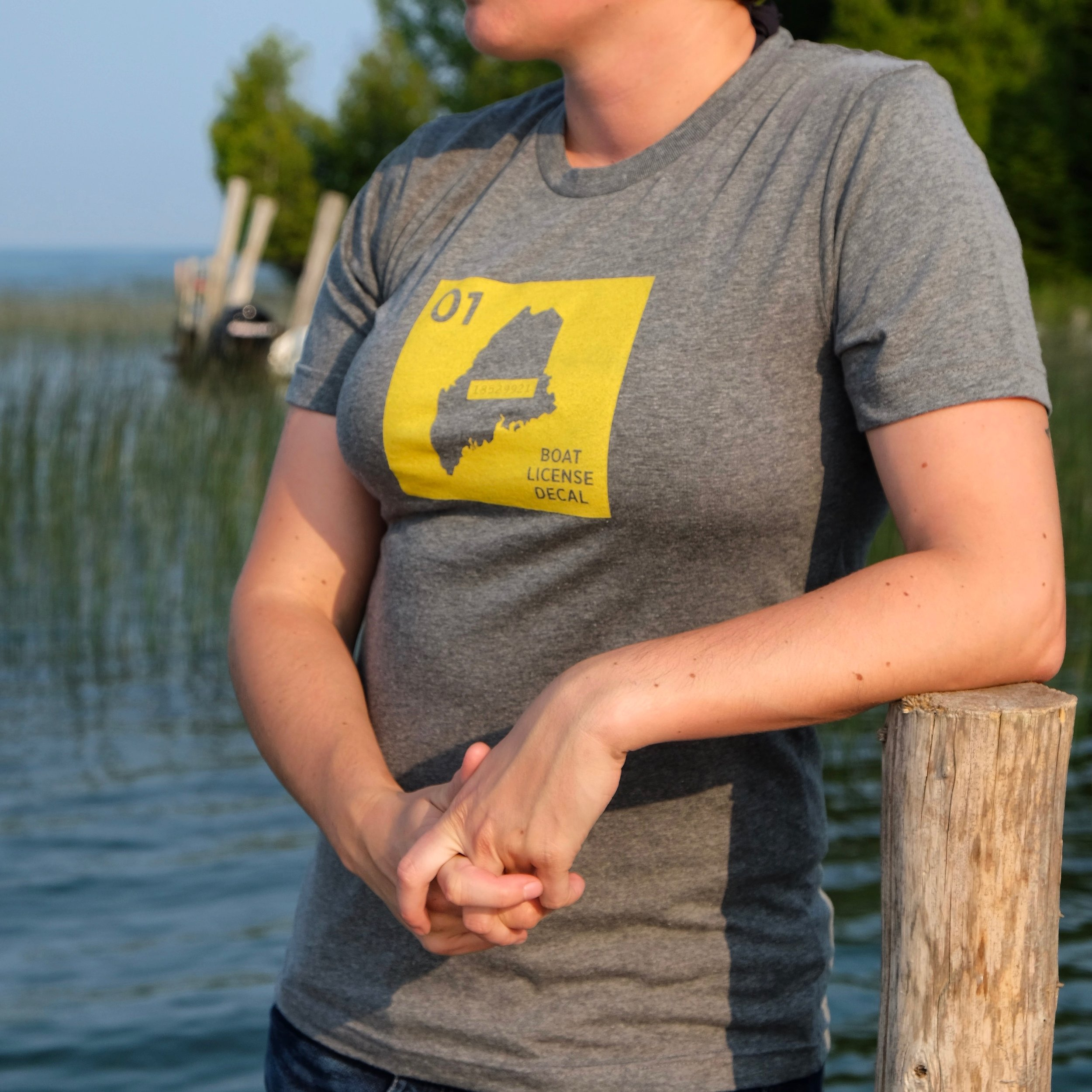 Apparel for the lake cabin. Maine boating t-shirt.