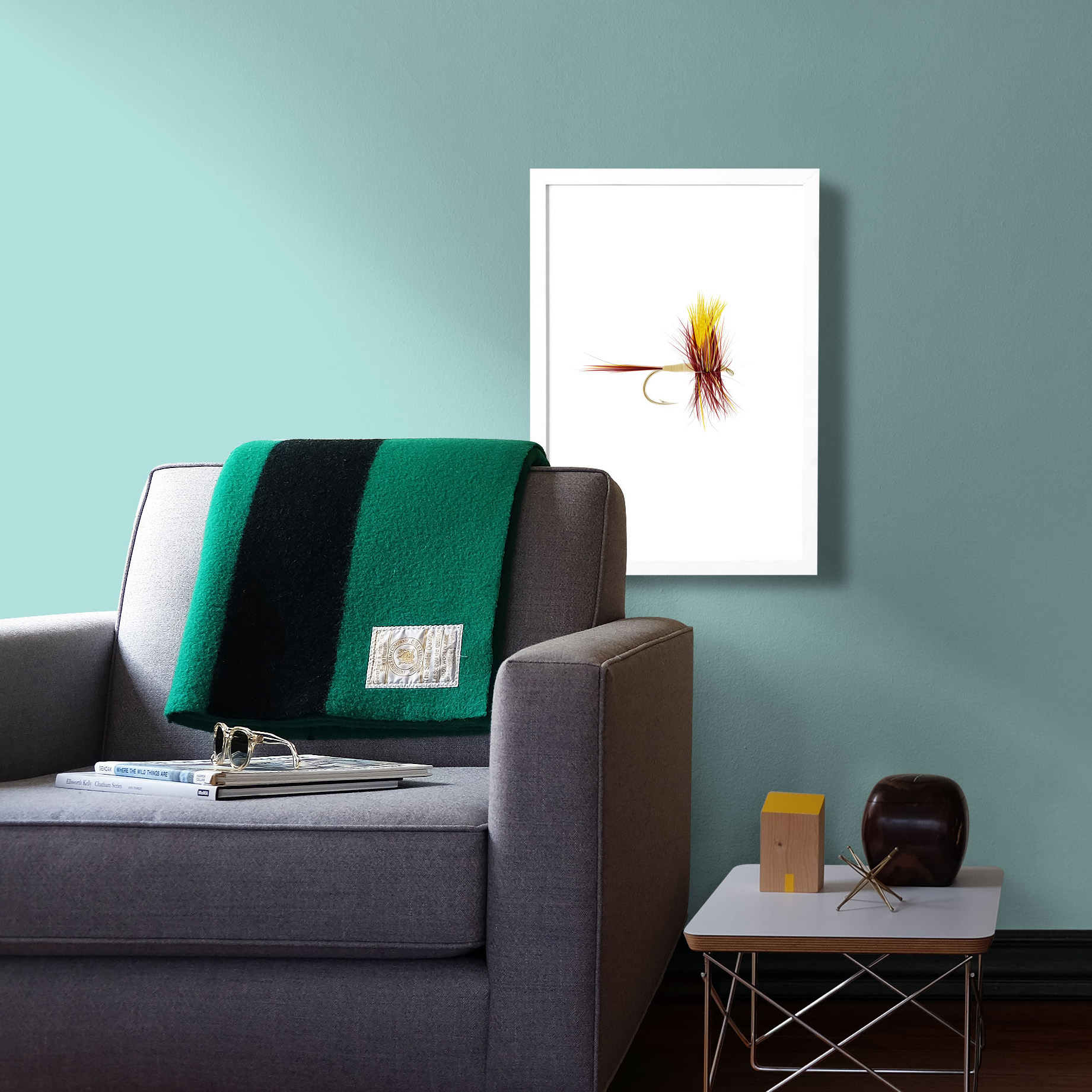 Fly fishing art for the lake cabin