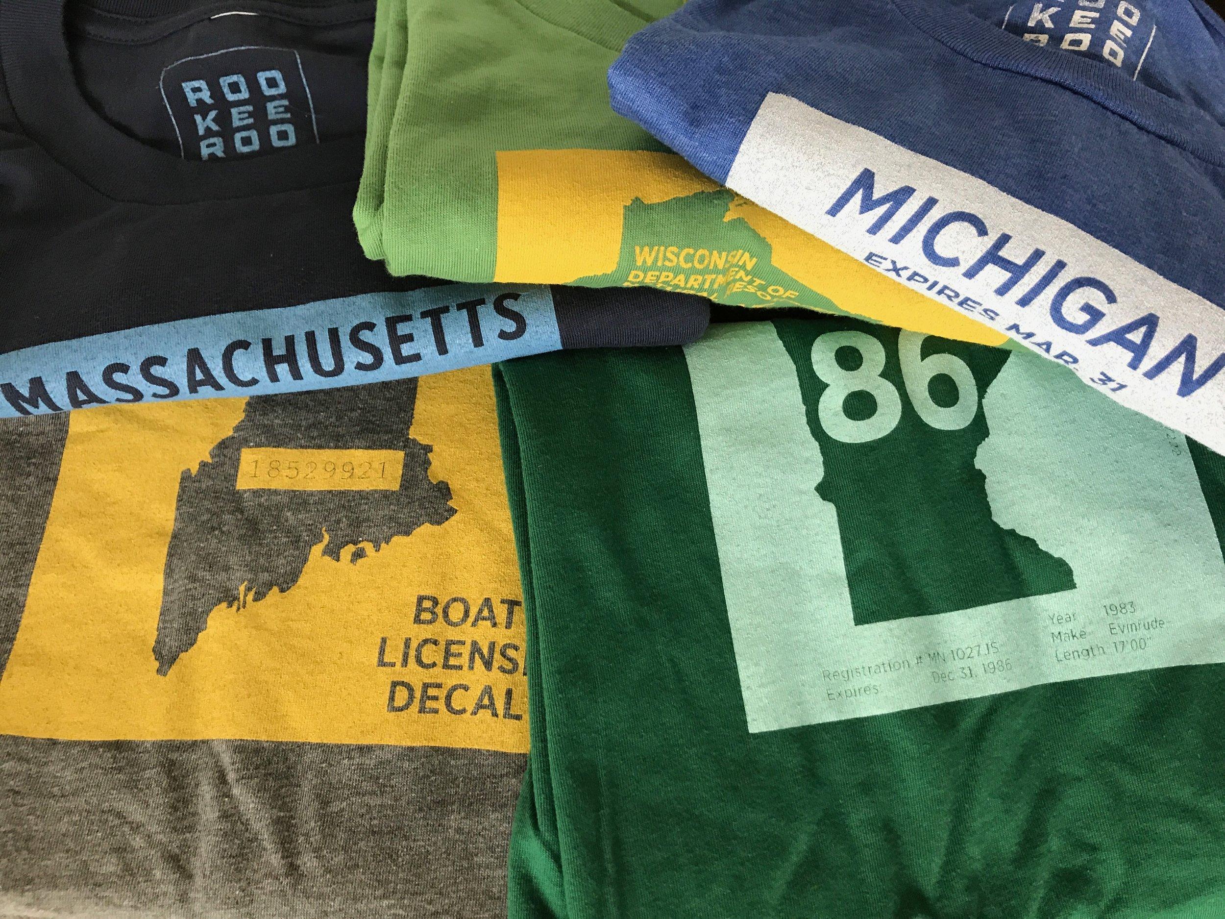 Boating t-shirts. From upper left: Massachusetts, Wisconsin, Michigan, Maine, Minnesota