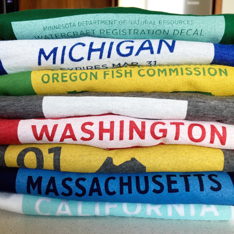 Lake cabin apparel: Boating t-shirts for Minnesota, Michigan, Oregon, Washington, Main, Massachusetts, and California.