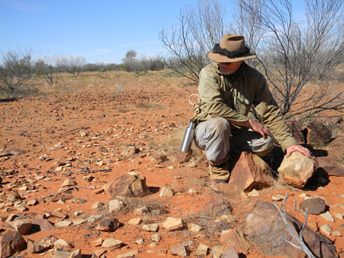 Archaeologist Dr Mike Smith examines an aboriginal tool factory, 2010.
