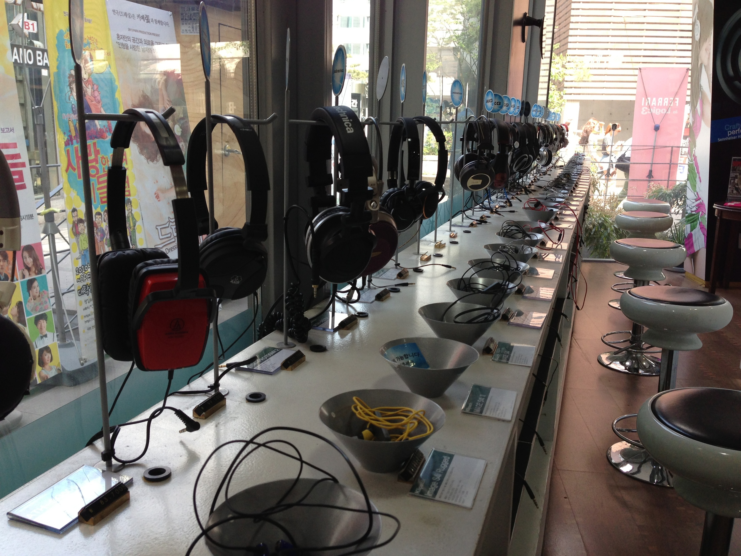 Rows of headphones to try