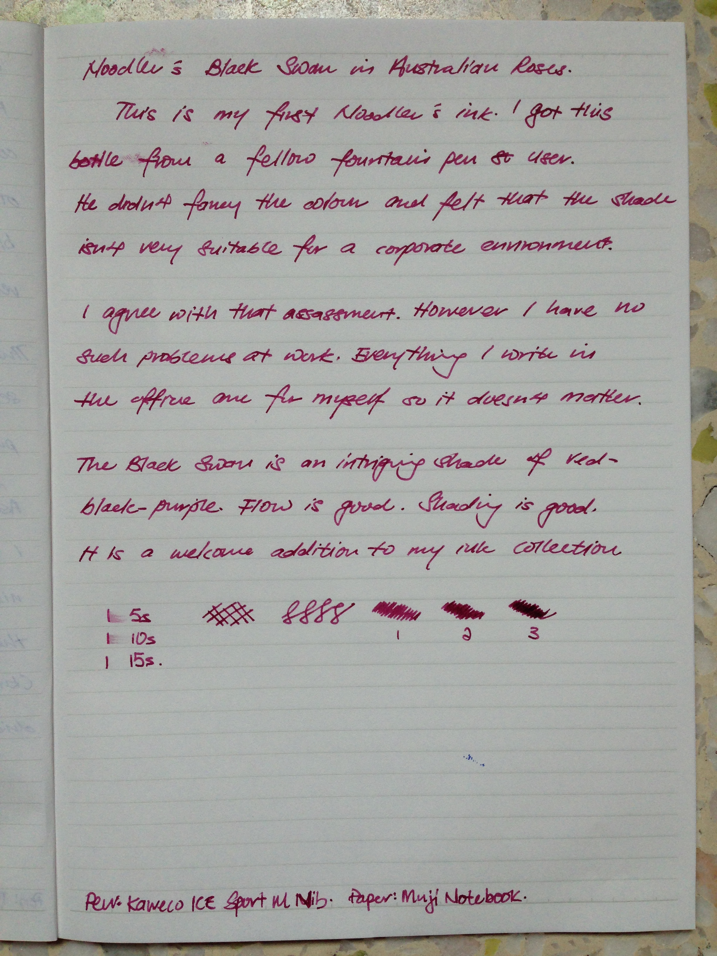 Written review of Noodler's Black Swan in Australian Roses