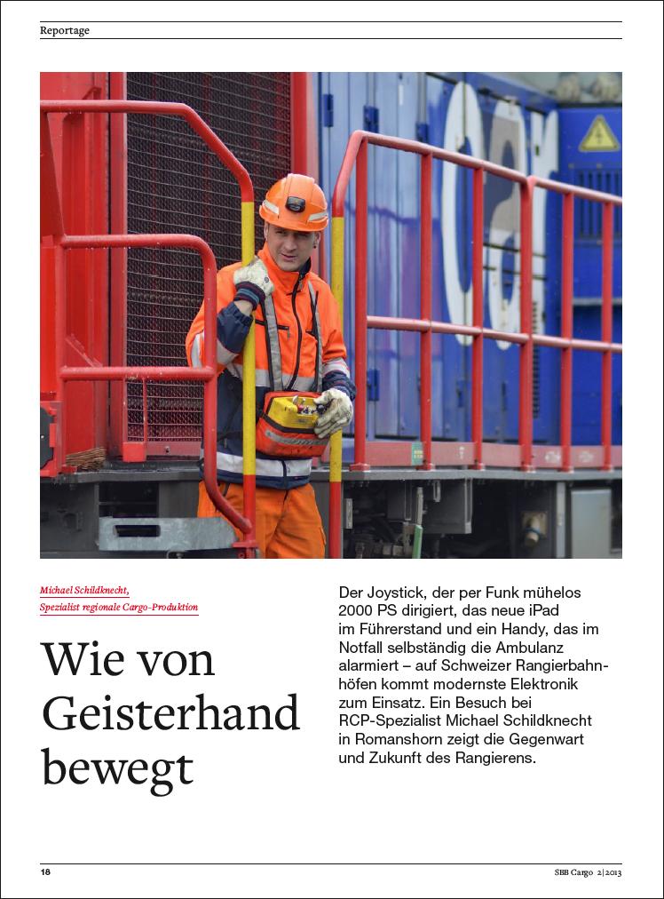 Reportage von Jean-Pierre Ritler im SBB Cargo Magazin