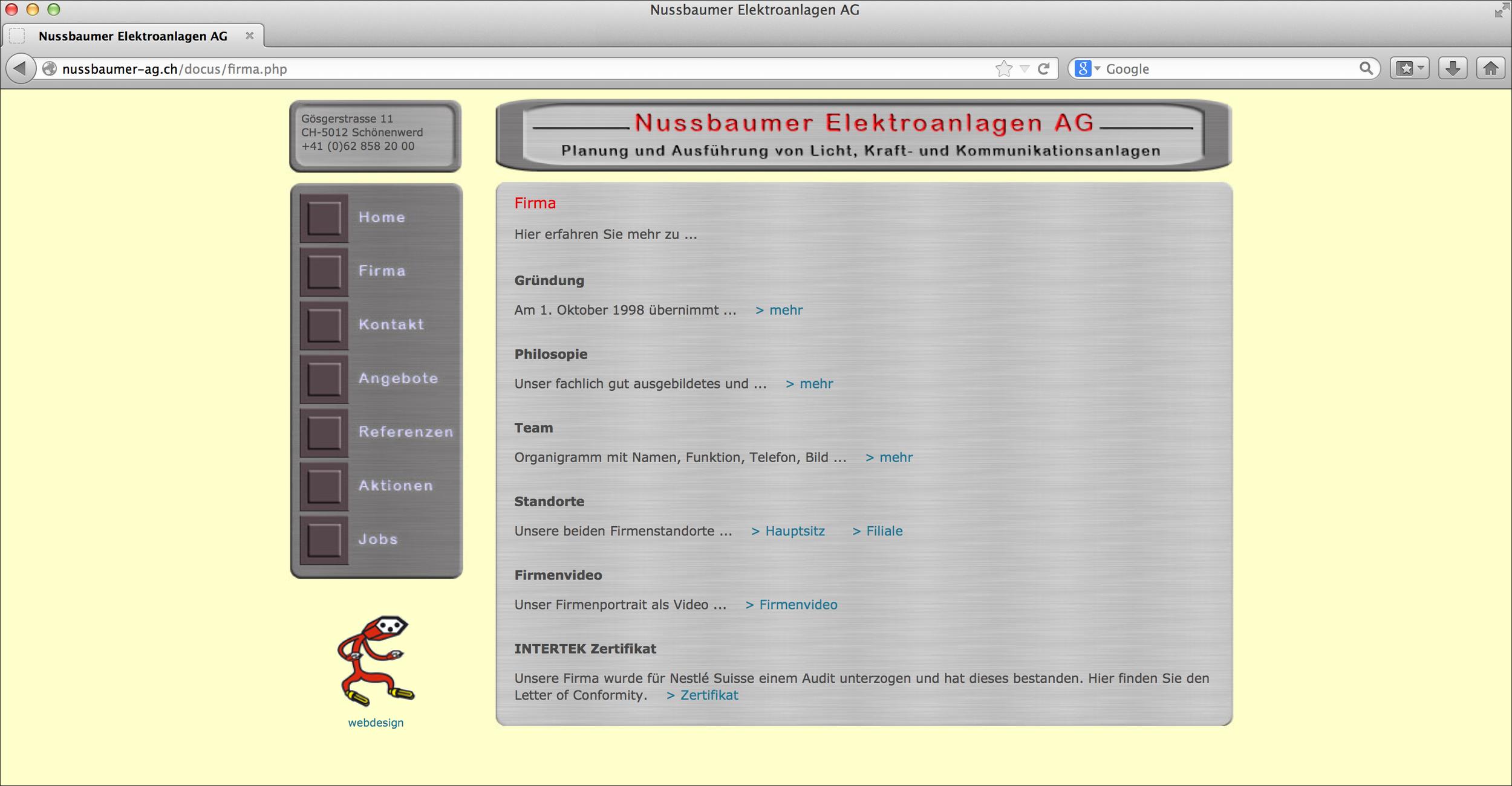 Die alte Website …