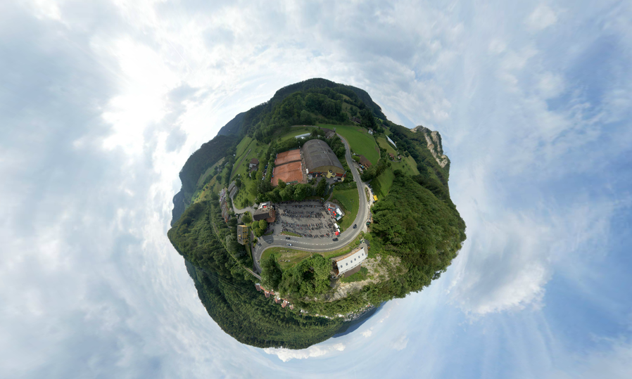 360-Grad-Panorama des Restaurants Isebähnli in Trimbach.