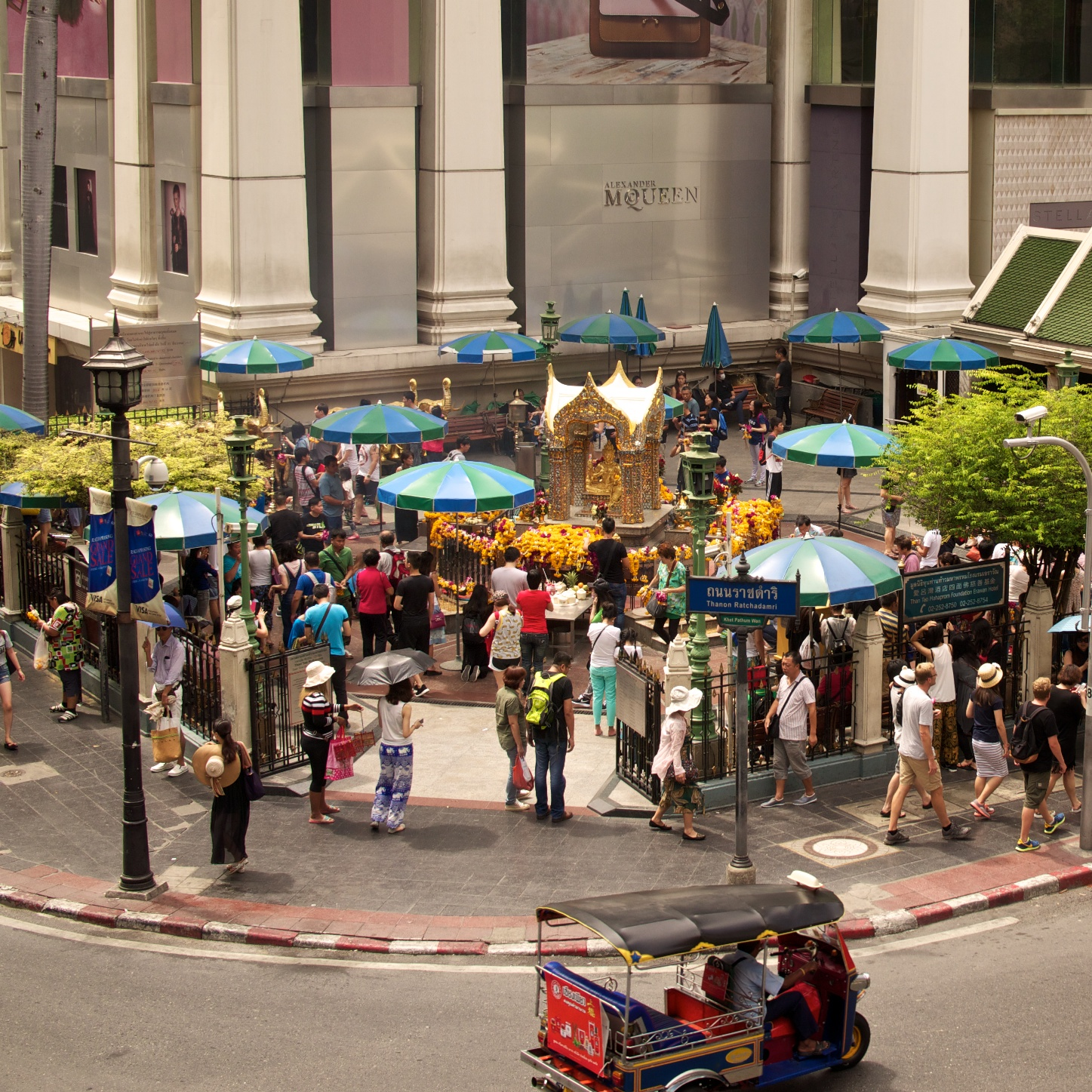 Erawan Shrine in Central Bangkok one week prior to the bombing; I hope it returns as a place of peace soon.