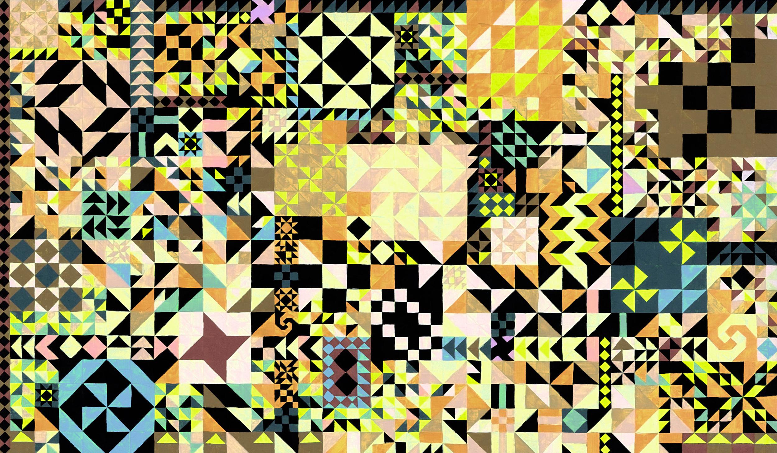 Repeat Remix, 2008 Acrylic & gouache on wood 9.6 x 15.4 inches (24.4 x 39 cm)   