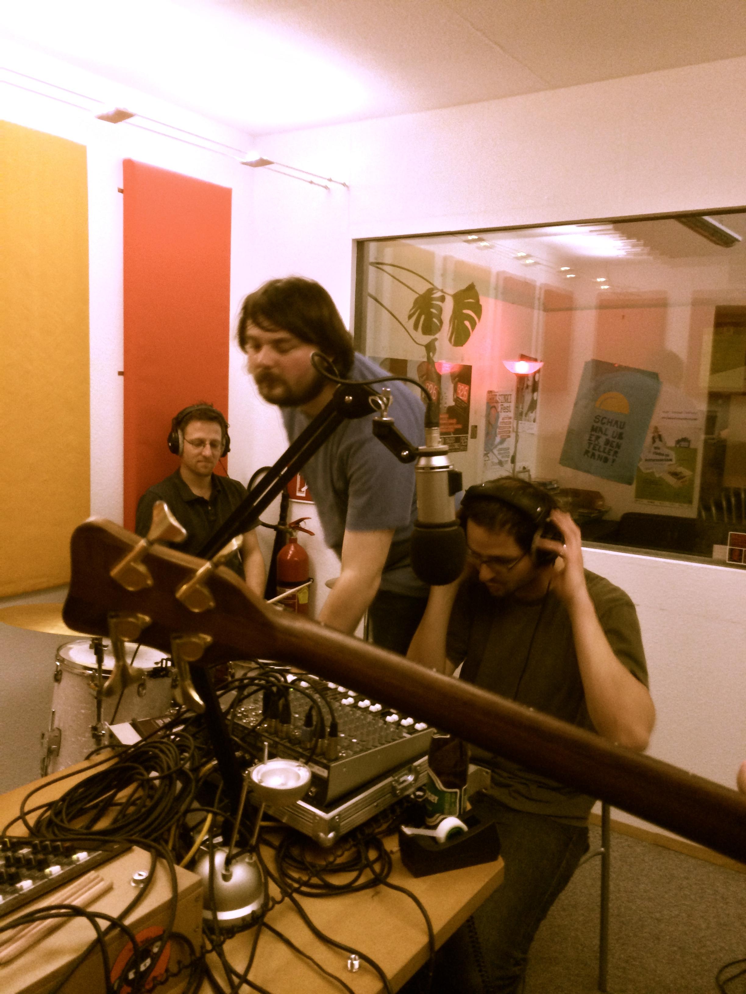 Radio Helsinki sound techs Christian and Josef hard at work