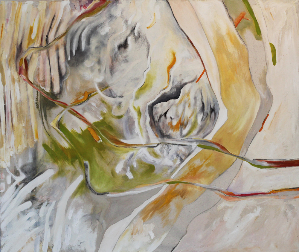"""away for some time (you turned), 34x40"""", oil and graphite on canvas, 2013"""