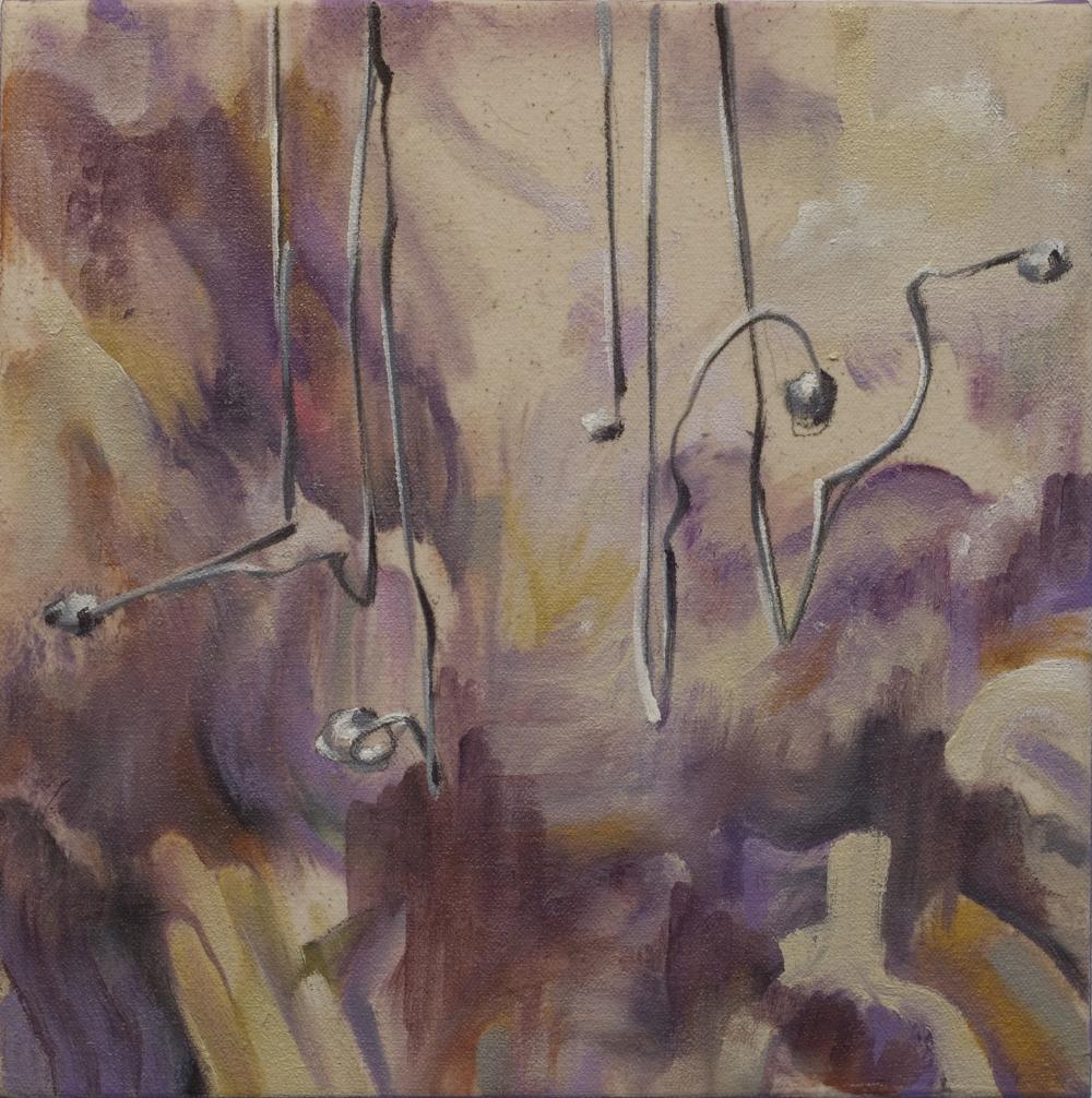 """fibrillator, 10x10"""", oil and graphite on canvas, 2013, private collection"""