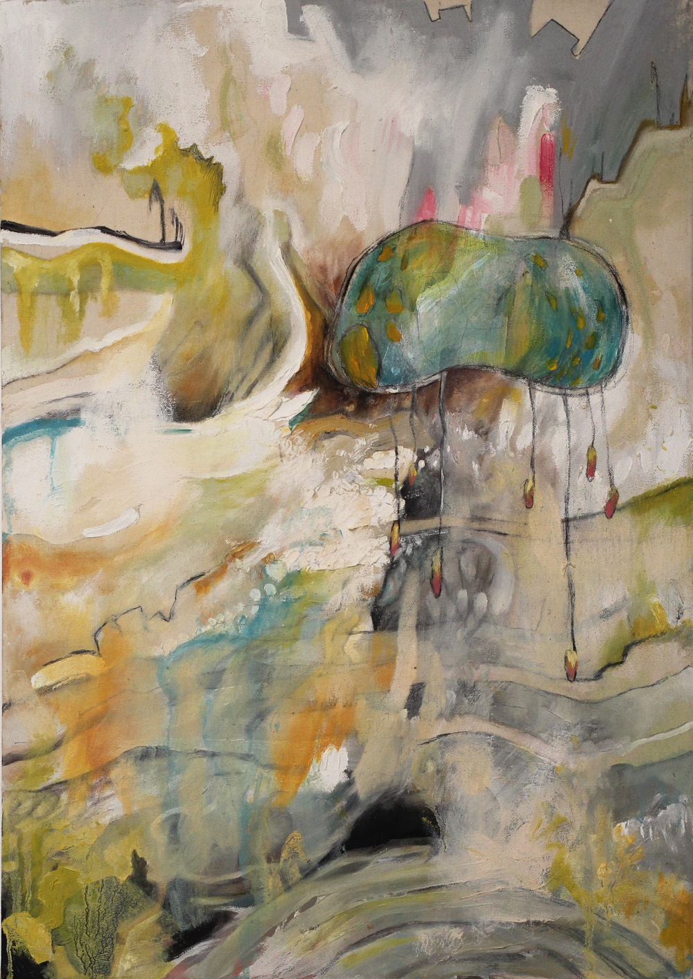 """float, 24x17"""", oil and graphite on canvas, 2012-2013, private collection"""