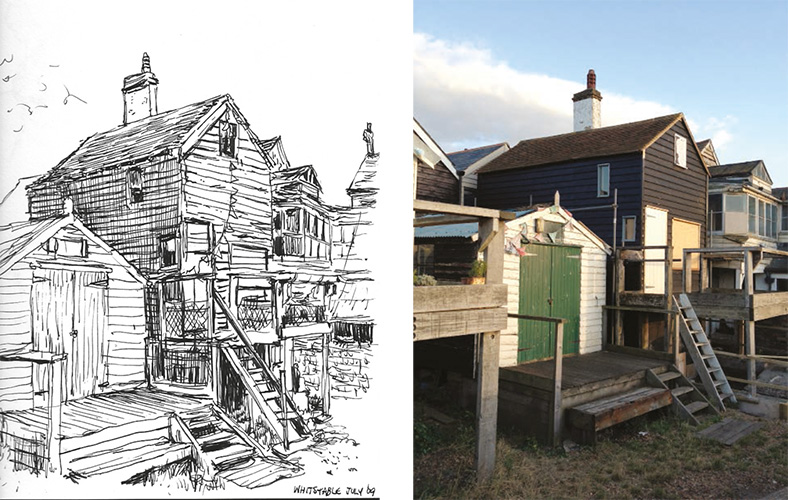 I believe he's done a drawing from a photo, or on site. But when you see the final artwork, it's really cool to see he kept the same colours, shapes from that house. I can imagine the surprise they had if the owners would go into waterstones to buy a book for their grandchildren's.