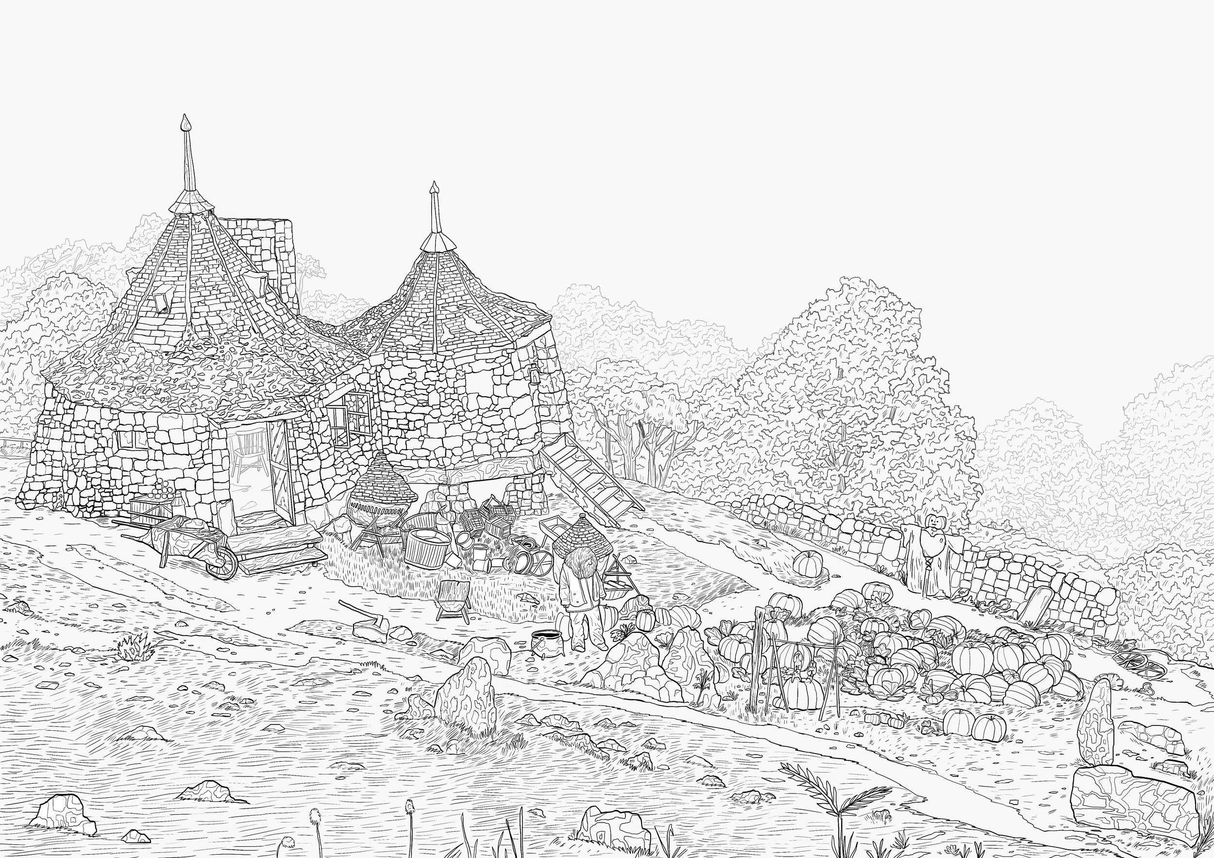 """Hagrid's hut, a piece that isn't in the final product """"Magical places colouring book"""""""