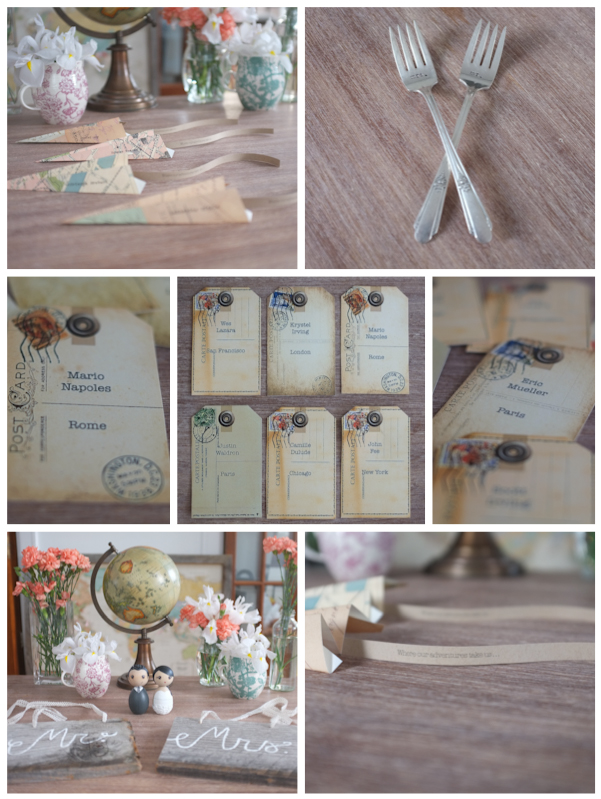 Airplane Place Cards Vintage Mr. and Mrs. Silver Forks Escort Cards Mr. and Mrs. Wood Seat Signs