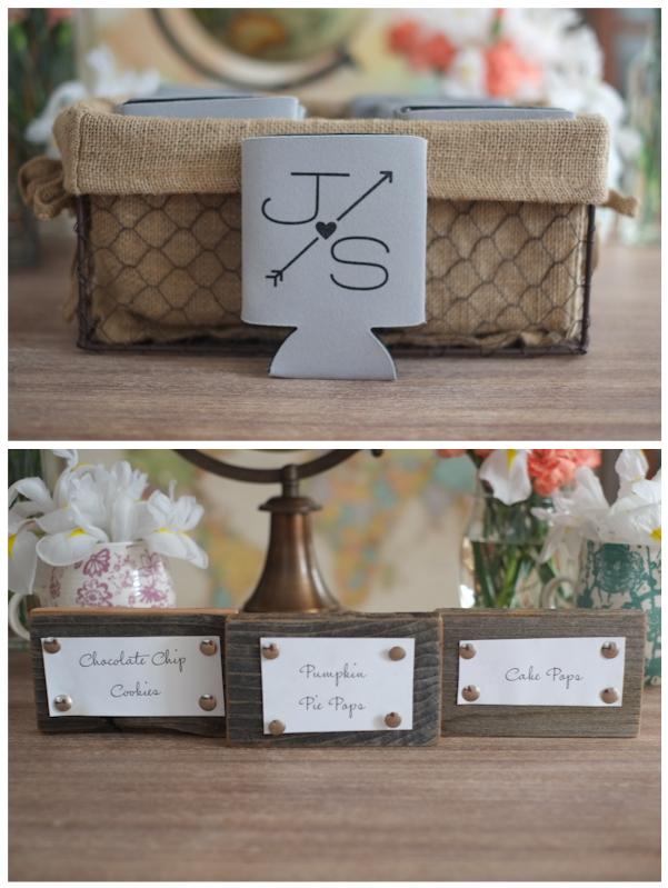 Koozies with Wedding Monogram DIY Dessert Labels